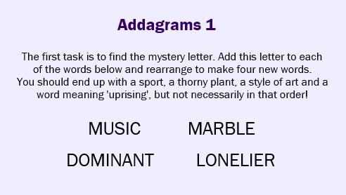 Addagrams 1
